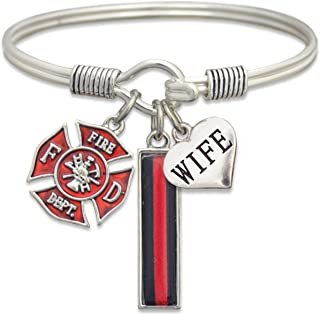 Firefighter Wife Support Bangle Bracelet with Gift Box