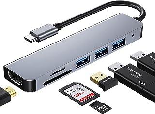 USB C ハブ アダプタ 6-in-1 Type c ハブ 4K 解像度 HDMIポート+USB 3.0ポート+USB 2.0ポート*2 高速データ転送+USB タイプC 高速PD充電ポート MacBook Pro/MacBook Air 1...