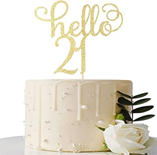 Hello 21 Cake Topper 21st Birthday/Wedding Anniversary Party Sign Decorations