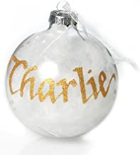 The Christmas Cart Personalised White Feather Glass Christmas Bauble | Customised Christmas Tree Decoration | Christmas Or...