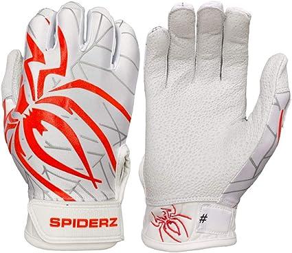 White//Red Large Spiderz Pro Adult 2019 Baseball//Softball Batting Gloves