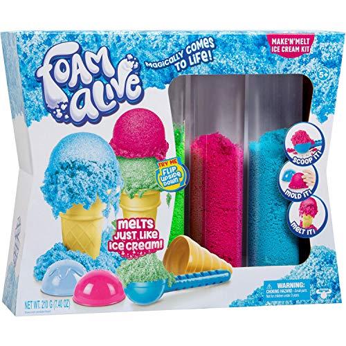 Foam Alive 36405 Make N' Melt Ice Cream Kit Eiscreme Shop, Spielset für Kinder mit fluffigem Schaum zum Kneten und Formen von Eiskugeln, bunt