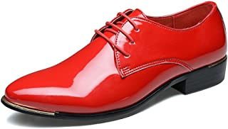 Men's Shoes-Men's Formal Oxfords PU Patent Leather Low Block Heel Lace Up Loafer Shoes Large Size (Color : Red, Size : 48 EU)