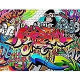 Papier peint intissé Mur de pierre Graffiti 352 x 250 cm - Tapisserie Decoration Murale XXL Poster - Salon Appartement Photo d'art - 9065011a