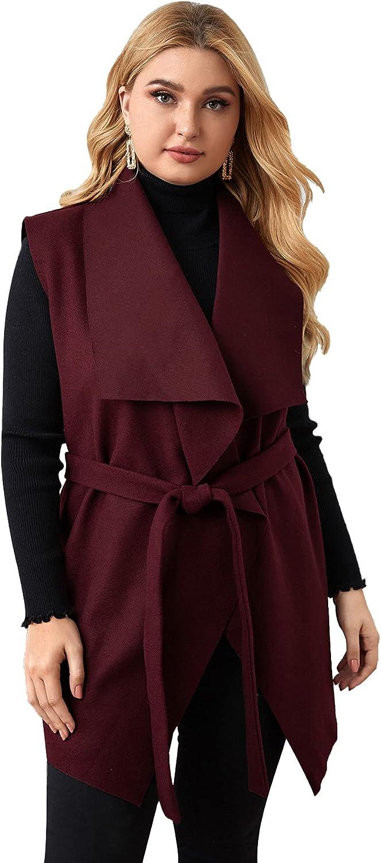 SheIn Women's Plus Draped Collared Sleeveless Vest Cardigan Belted Longline Outerwear