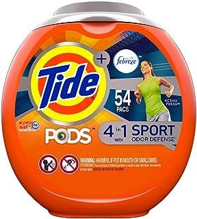 Tide PODS 4 in 1, Plus Febreze, Laundry Detergent Liquid Pacs, Sport Odor Defense, Active Fresh Scent, 54 Count - Packagin...