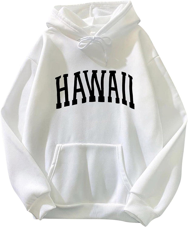 Toeava Sweatshirt for Women Oversized HAWAII Letter Print Graphic Fleece Crewneck Hoodie Long Sleeve Pullover Jacket