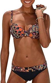 comprar comparacion Bikini Push Up Mujer con Relleno Flores Trajes de Baño de Dos Piezas Biquini Vikini Bikinis Triangulo Señora Bañador Pisci...