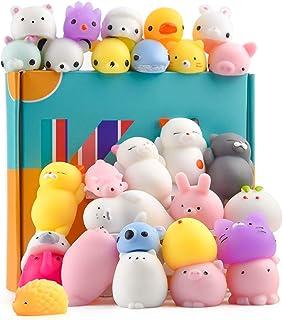 KUUQA 30Pcs Animal Squishies Toys Easter Egg Fillers Kawaii Squishy Panda Cat Paw Cute Mini Soft Squeeze Stress Reliever B...