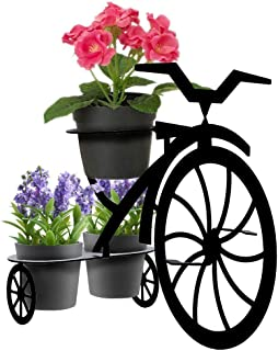 Lily's Home Patio Decor, Aluminum Sheet Yard Art Flower Pot Stand (Mini Tricycle). 17 1/2