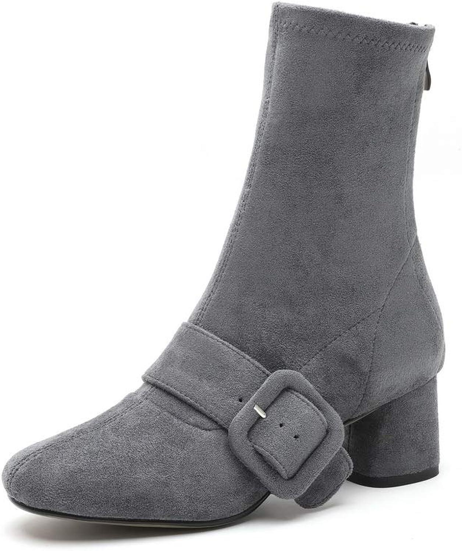 AdeeSu Womens Nubuck High-Heel Solid Urethane Boots SXE04357