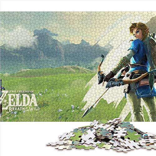 Puzzle Adulto de 1000 Piezas Zelda Breath of The Wild Puzzle Adulto 1000 Piezas Juguetes intelectuales educativos del Equipo Familiar 52x38cm