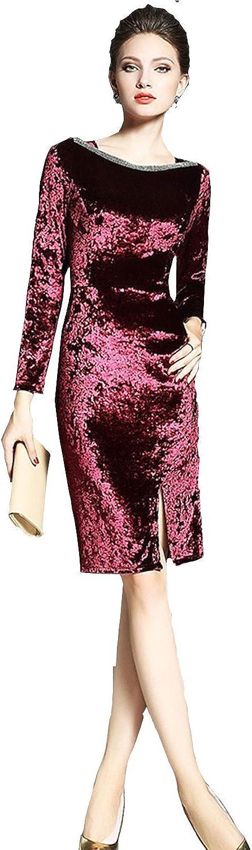 Unomatch Women Sheath Style Velvet Slit Dress Red