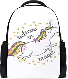 9f3a6bc5fbc4 Backpack Gold Unicorn Personalized Shoulders Bag Classic Lightweight  Daypack for Men Women Students School
