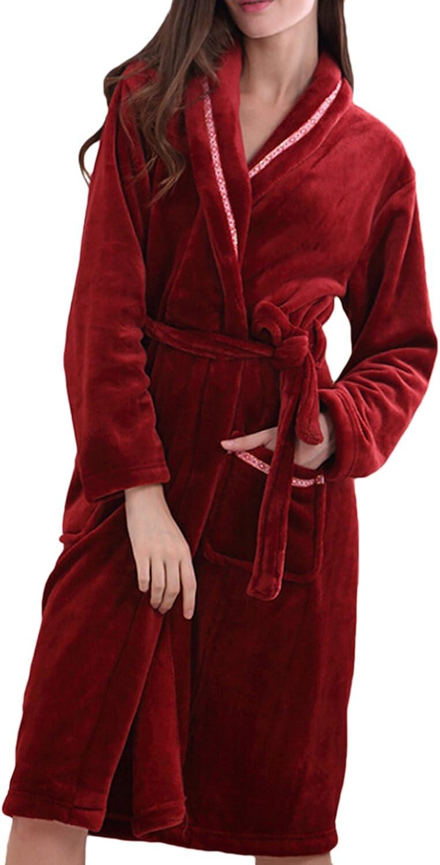 Muke Women's Coral Velvet Sleepwear Long Sleeve Lapel Adult Bathrobes