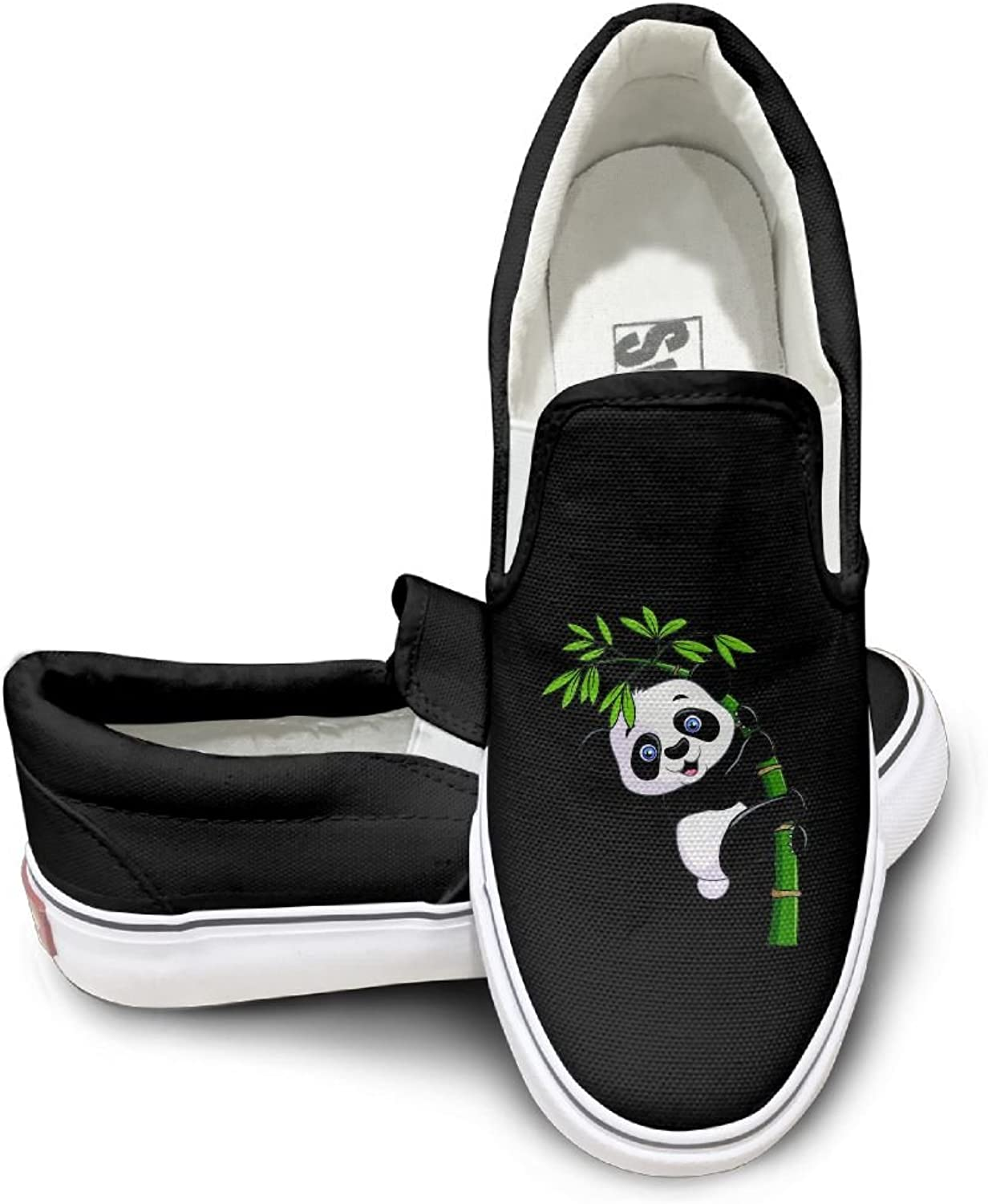 Men Women Low Top Lightweight Sneaker Cute Panda In The Bamboo Canvas shoes