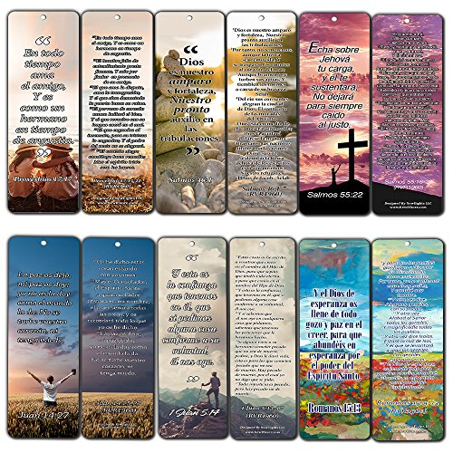 Spanish Bookmarks - Popular Inspirational Bible Verses (30-Pack) - Awesome Collection of Spanish Bookmarks