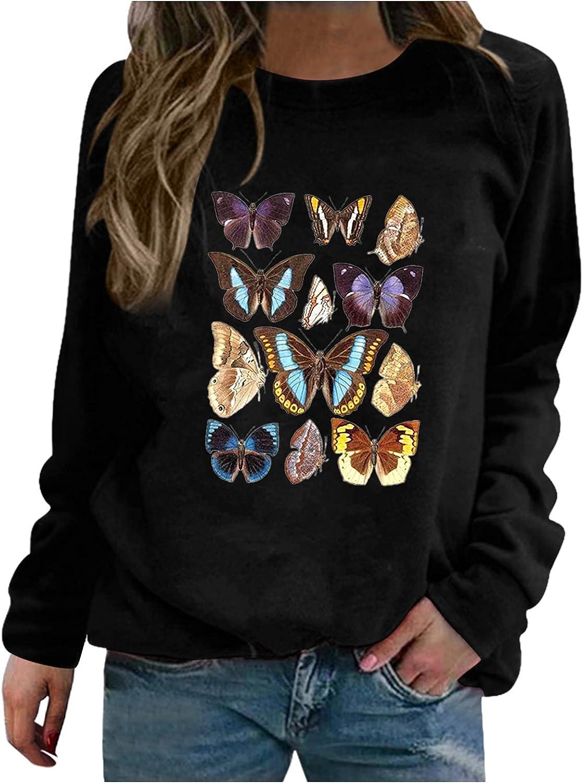 Women's Casual 1 year warranty Fashion Tops Butterfly O-Neck Sleeve Long Rare Print B