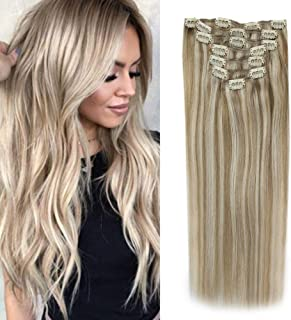 Sunny Clip in Blonde Hair Extensions 20 inch Clip in Human Hair Extensions Dark Golden Blonde Highlights Medium Blonde Clip in Real Human Hair 120g