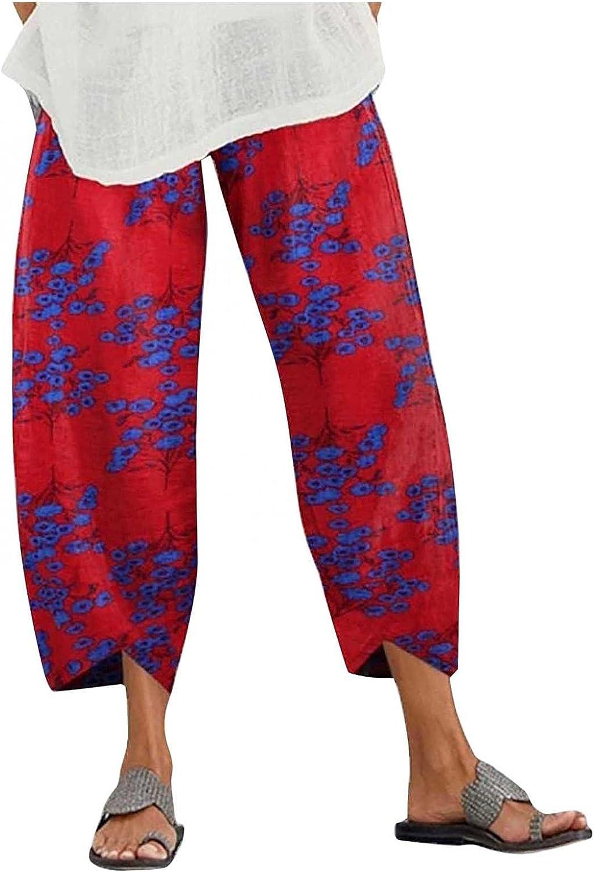 YANG-YI Women's Wide Leg Cotton Linen Pants Loose Fit Casual Trousers Floral Print Elastic Waist Bottoms
