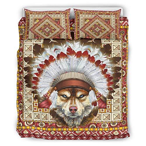 DOGCATPIG Home - Juego de colcha para parejas, diseño de perro nativo, estilo moderno, reversible, elegante, 167,6 x 228,6 cm, color blanco