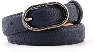 SGJFZD New Small Belt Belt Ladies Fashionable Bronze Oval Buckle Dress Belt Creative Buckle (Color : Navy, Size : 105 * 1.9cm)
