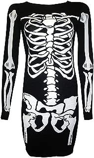 Women's Halloween Costume Skeleton Funny Long Sleeve Midi Dresses