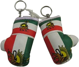 Flag Mini Small Boxing Gloves to Hang Over Car Automobile Mirror – Asia & Africa (1-Pack, Country: Iran)