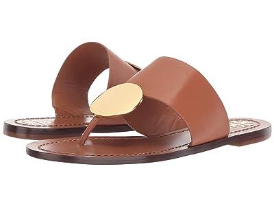 Tory Burch Patos Disk Sandal (Tan/Gold) Women