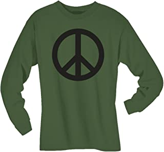 Peace Sign Long Sleeve T-Shirt in Military Green
