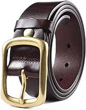 Jeans Belt Men's Leather Pants Belt, Pure Brass Buckle Casual Belt (Color : Brown, Size : 110cm)