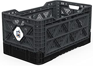 BIGANT Heavy Duty Collapsible & Stackable Plastic Milk Crate - IP734235, 23.8 Gallons, Large Size, Charc.Gray, Set of 1, Absolute Snap Lock Foldable Industrial Storage Bin Container Utility Basket