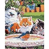 Pintura por números,Happy animal cat Pintura por Números para Adultos Bricolaje Lienzo Preimpreso Pintura al óleo Arte Decoración del Hogar Reducir la Ansiedad,40cmX50cm(sin marco).