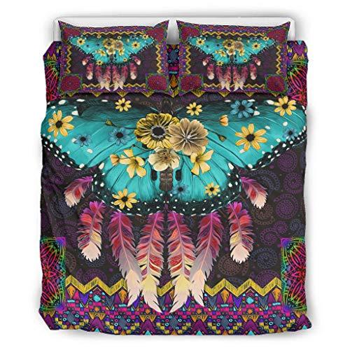 Mentmate Store Couvre-lit avec fleurs vertes et papillons des Américains - Doux et léger - 3 pièces - Pour toute la saison - Blanc - 168 x 229 cm