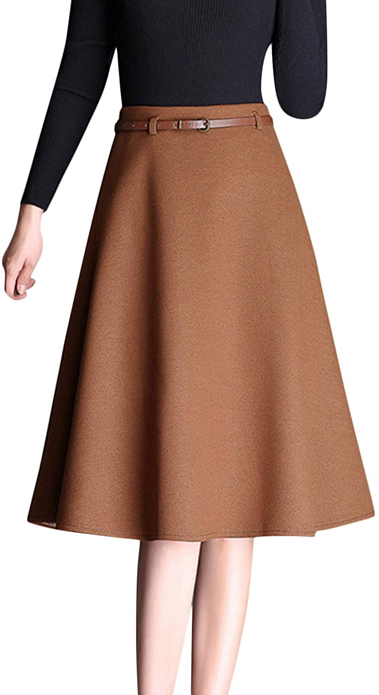 Uaneo Women's Casual High Waist Pleated A Line Knee Length Skirts with Belt