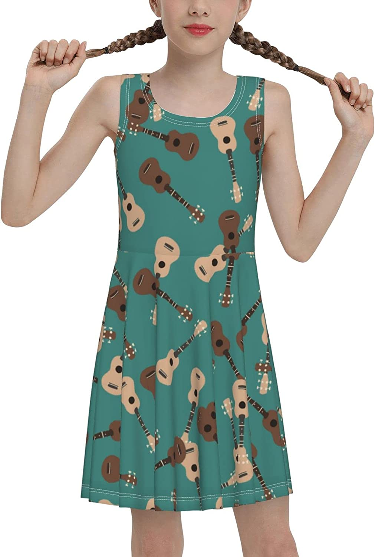 SDGhgHJG Guitar Pattern Sleeveless Dress for Girls Casual Printed Vest Skirt