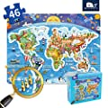 Kids Puzzle for Kids Ages 4-8 World map Floor Puzzle Raising Children Recognition Promotes Hand Eye Coordinatio (Loose Powder Process Bulge Design,48Pcs,24x18in)