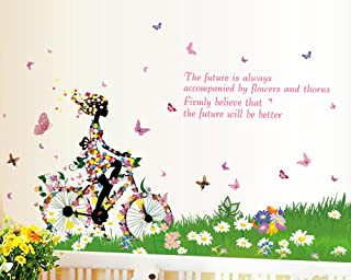 Bicycle Girl Fashion Personality Cute DIY Vinyl Wall Stickers Decorative Wall Decals Girl's Room Nursery Bedroom Decor Mural Home Decoration (style 7)