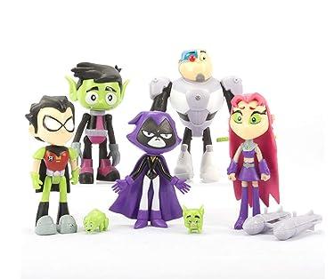 Kourtrico Teen Titans Go Toys, Teen Titans Go Action Figures Set , 6-Pack Robin, Starfire, Cyborg, Raven, Beast Boy, Toys for 3-12 Year Old Boys Girls Kids Children