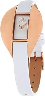 Obaku Denmark Women's Quartz Watch V155Lvirw With Leather Strap, White Band, Analog Display