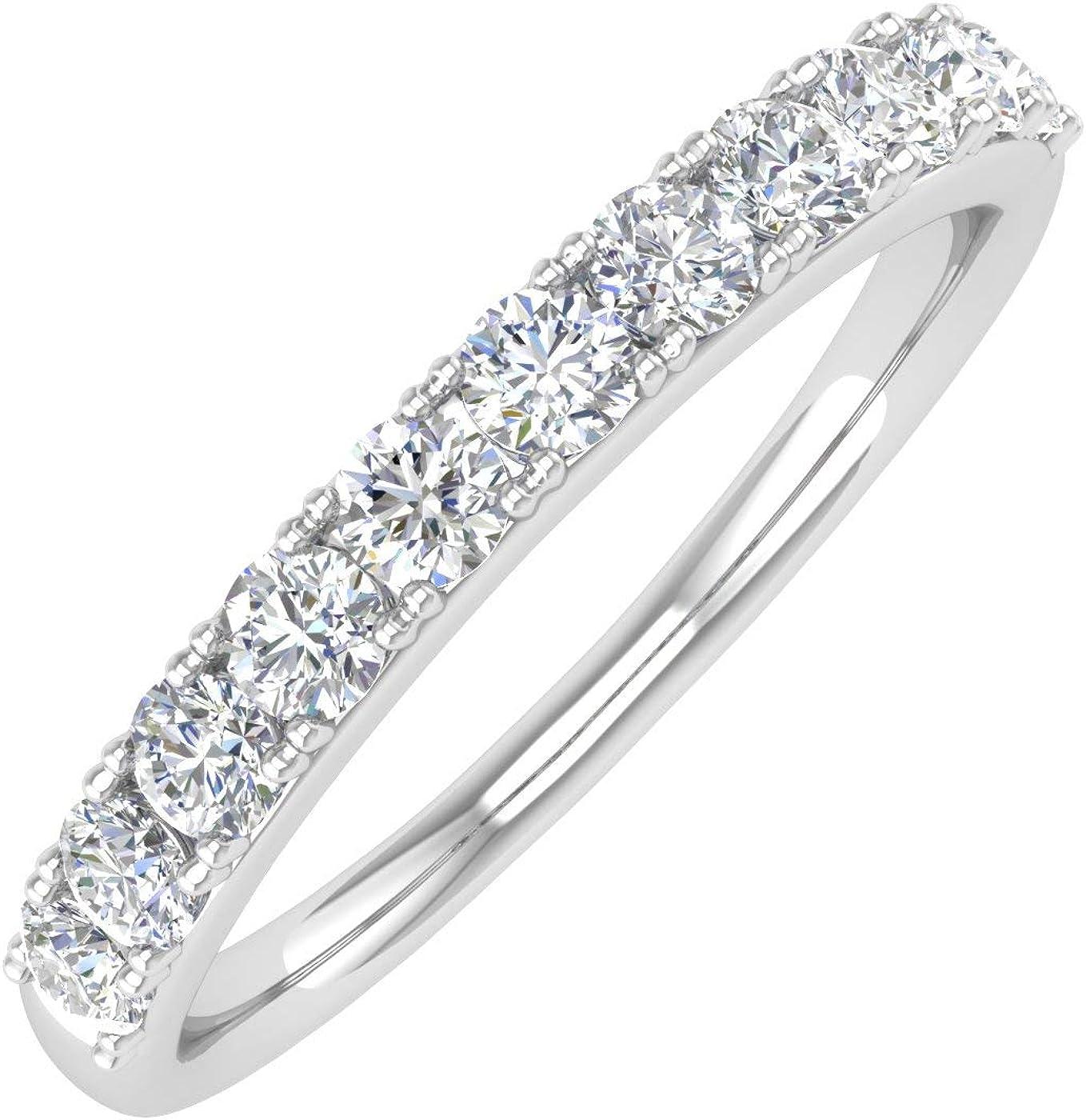 1/2 Carat Natural White Diamond Wedding Band Ring in 14K Gold - IGI Certified