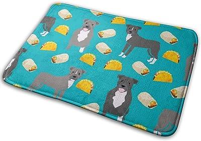 """Pitbull Taco - Dogs and Burritos Design - Teal_19334 Doormat Entrance Mat Floor Mat Rug Indoor/Outdoor/Front Door/Bathroom Mats Rubber Non Slip 23.6"""" X 15.8"""""""
