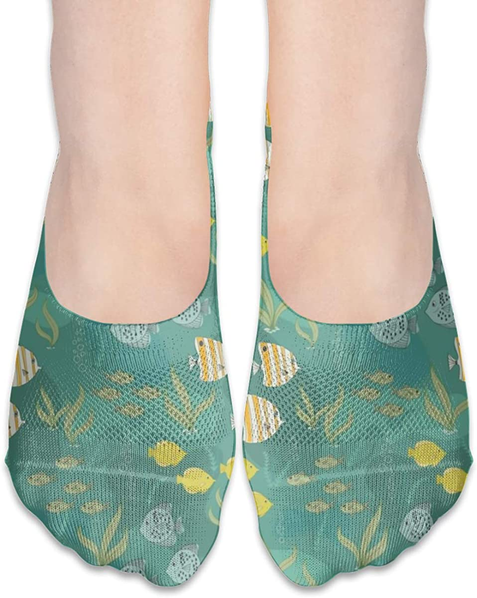 Personalized No Show Socks With Mid Century Fish Print For Women Men