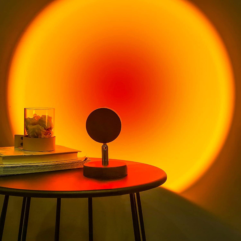 OULADUN Sunset Lamp Sunset Projection Lamp Romantic Visual Mood Lighting Network Red Light, Modern Floor Stand Night Light for Photography/Selfie/Home/Living Room/Bedroom Decor(Sunset Red)