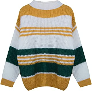 Women Color Block Stripe Knitted Oversize Sweater Crewneck Long Sleeve Loose Baggy Pullover Top and Blouse