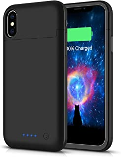 SHENMZ Battery Case for iPhone X/XS/10,[Upgraded] 5200mAh Rechargeable Portable Charger Case Extended Battery Pack for iPhone X/XS/10 (5.8inch) Protective Power Charging Case-Black
