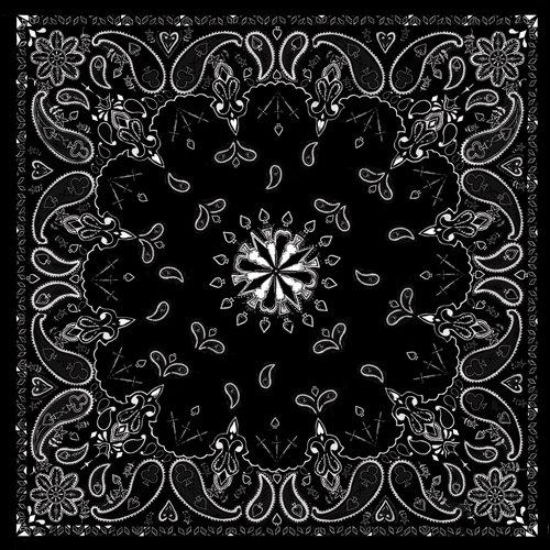 Zanheadgear B001 Premium Bandanna, 100% Cotton, Black Paisley