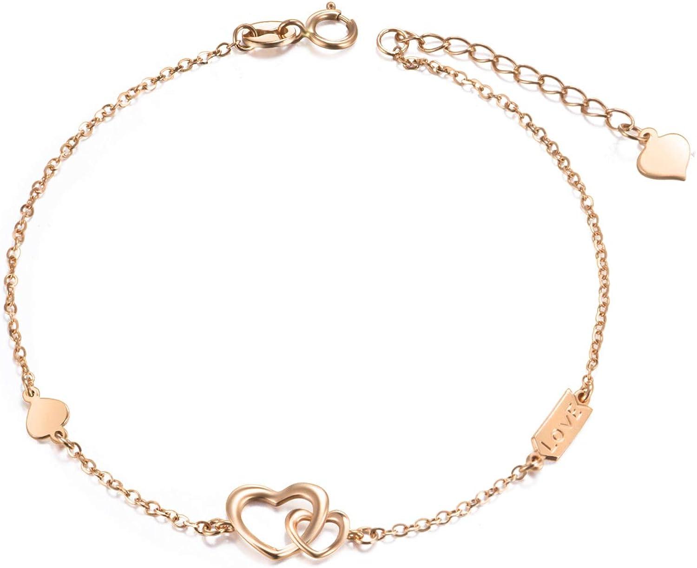SISGEM 14k 18k Gold Double Heart Bracelet, Engraved Love Women Gold Bracelet, Jewelry Gifts for Her, 6.7