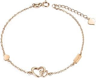 SISGEM 18k Real Rose Gold Heart Bracelet, Engraved Love Women Gold Bracelet, for Her, 6.7