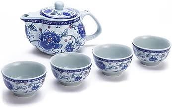 Exquisite 5 PCS Blue-And-White Peony Design Ceramic Tea Pot Tea Cups Set In Beautiful Color Gift Box